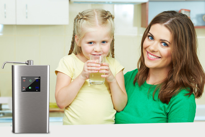 Mother and Daughter Drinking Hydrogen Water